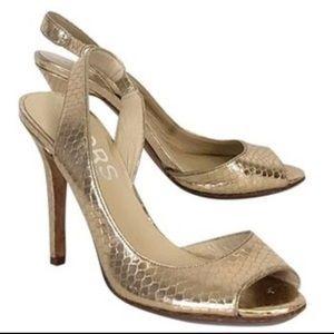 KORS MICHAEL KORS Gold Snake Embossed Heels 7.5