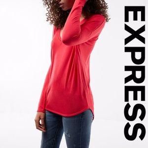 Express V-Neck Long Sleeve Hi-Lo Tee