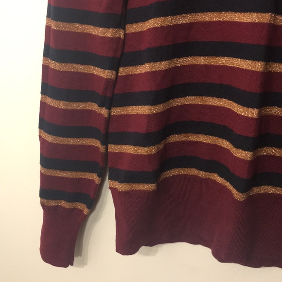 French Connection Sweaters - FRENCH CONNECTION Maroon Gold Navy Holiday Sweater
