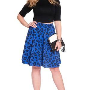 Eloquii blue leopard circle skirt