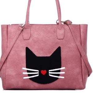 Pink Vegan Leather Tote Purse Kitty Cat