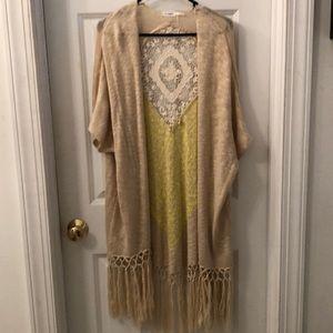 Blu Pepper Fringe Knit Kimono