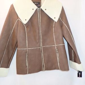 Style & Co. Oversized Collar Faux Shearling Jacket