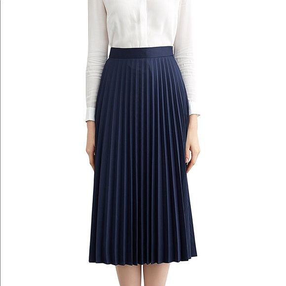 477b9bc6d6 Simple Retro Skirts | Steel Blue Bluegray Knife Pleat Midi Skirt ...