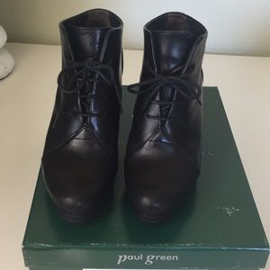 Paul Green Fiona Lace Black Leather Bootie