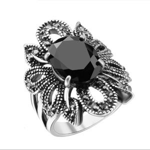 Jewelry - Silver & Black Stone Goth Emo Punk Rock Ring