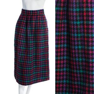 Vintage Rainbow Plaid Wool Maxi Skirt