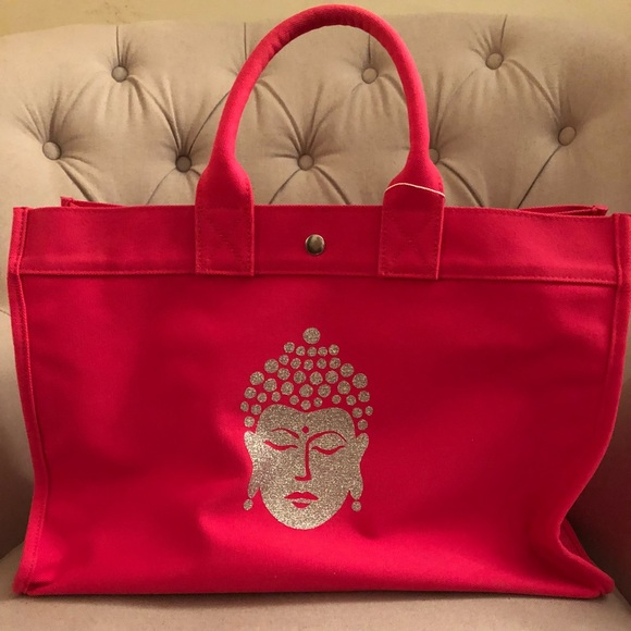 b9cb574c5f79 Pink Buddha Canvas East West Tote. NWT. Quilted Koala