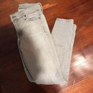7FAM grey skinny jeans