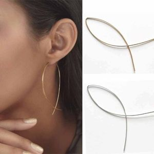 CLAIRE Fish Loop Earrings - Gold tone