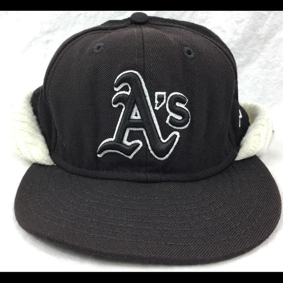 81b3f7fe716 Oakland A s MLB New Era Fitted Hat Beanie 7 3 8. M 5a247cabd14d7b5344095e54