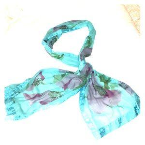 NWOT Blue Floral Scarf