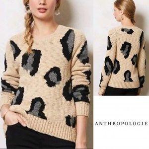 {Anthropologie} sleeping in snow leopard sweater