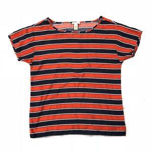 J. Crew Silk Orange, Navy & White Stripe Tee Sz 2