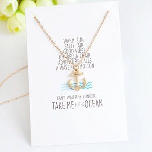 Jewelry - Gold  Anchor Take Me to the Ocean Necklace Card