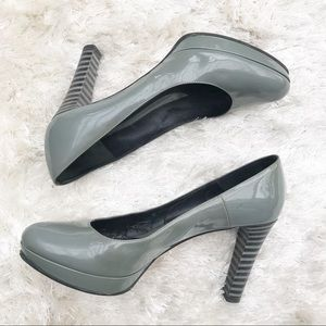 FENDI Gray Patent Pumps with Striped Heels