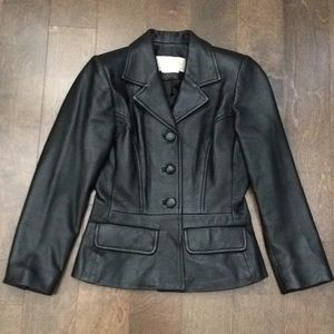 Vtg Real Leather Jacket Blazer Style