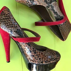 Sheikh snakeskin stiletto heels size 10 women's