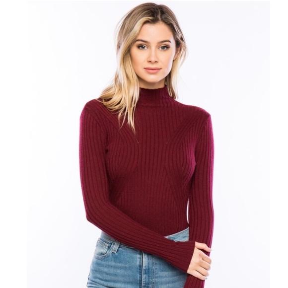 Sweaters | Burgundy Long Sleeve Turtleneck Sweater Bodysuit | Poshmark