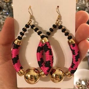 gold & pink statement earrings