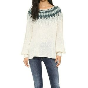 Like New Baltic Fair Isle Sweater in Ivory/Forest