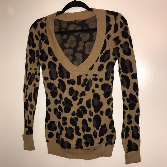 2128b6b370cd Express Sweaters   Leopard Print Cardigan   Poshmark