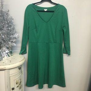 Merona Long Sleeve V-Neck Green Holiday Dress