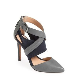 Joe's Jeans Alyson Grey and Navy Strappy Pump