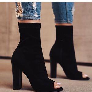 Shoes - Open Toe Suede Booties