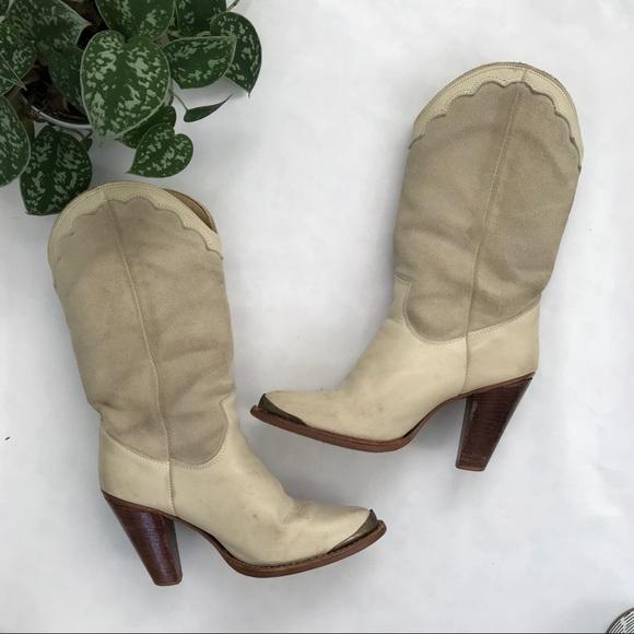 865eb5a515708 Vintage Zodiac Antique White Cowboy Boots
