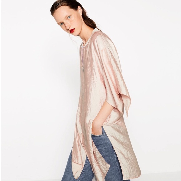 5a7fa4bf Zara Satin-Effect Pink Jacket w Kimono Sleeves. M_5a2487ed13302a8df809a7c6