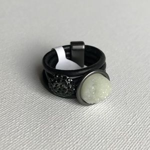 Edgy Crystal & Druzy Leather Ring