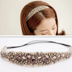 Accessories - Pink Jewels Pearl Rhinestone Headband Necklace