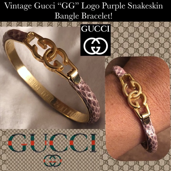 7bed69a97 Gucci Jewelry | Vtg Gg Purple Snakeskin Bangle Bracelet | Poshmark