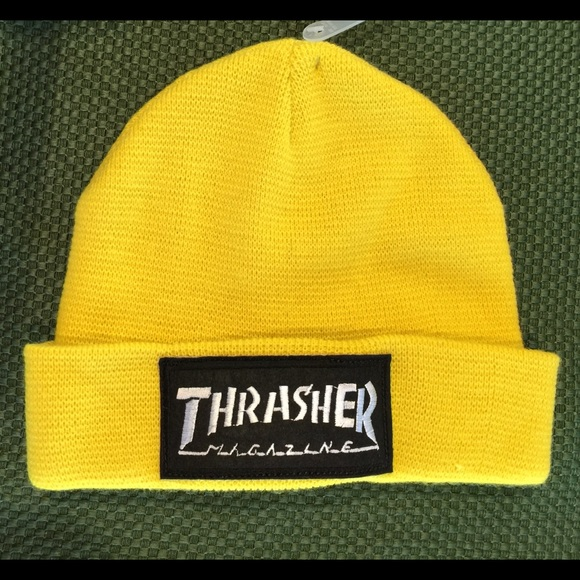 Patched Yellow Beanie w  Thrasher Patch 0404d2e79df