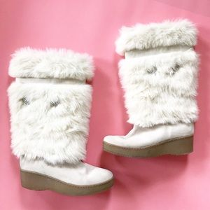 12aaed55080 Steve Madden White Furry Tall Suede Winter Boots