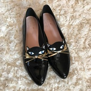 {Kate Spade} black leather cat loafers