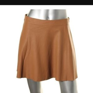 Joie Goat Leather Cognac Skirt