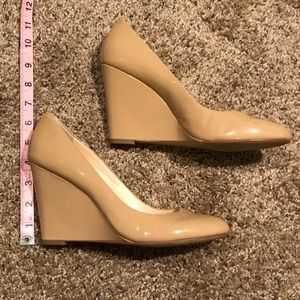 Nude patent leather wedges size 9