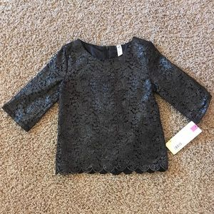 NWT, Girls Black Lace Top with 3/4 sleeves