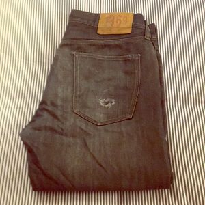 Men's Low-Rise Straight Fit Distressed Blue Jeans