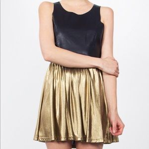 Sugar Lips Faux Leather and Gold Lame Dress