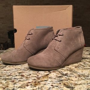 Shoes - Toms desert wedges in taupe suede