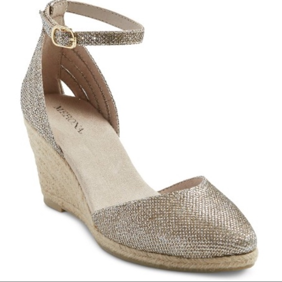 Merona Shoes - Merona Amy gold sparkly wedges sandals