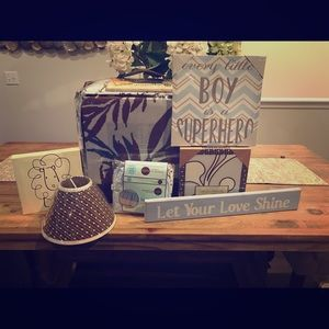 Other - Brand New Nursery Decor!! Baby blue and Brown.