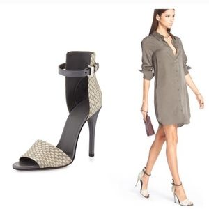 New with box. Vince snakeskin sandal black heels