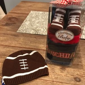 Other - Brand New Football Cap, Booties and Diaper Cover