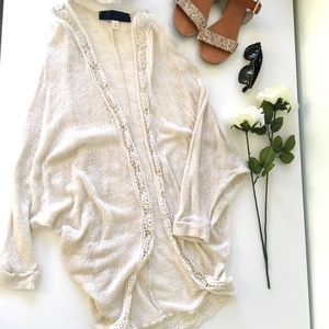Cream Knit Cocoon Cardigan or Cover-Up with Lace