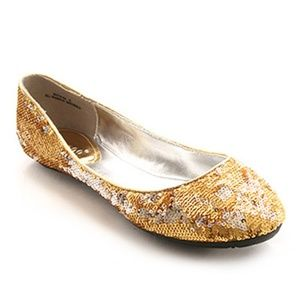 NBW Bamboo Gold and Silver Sequin Flats