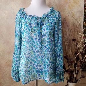 Willi Smith Sheer Floral Blouse